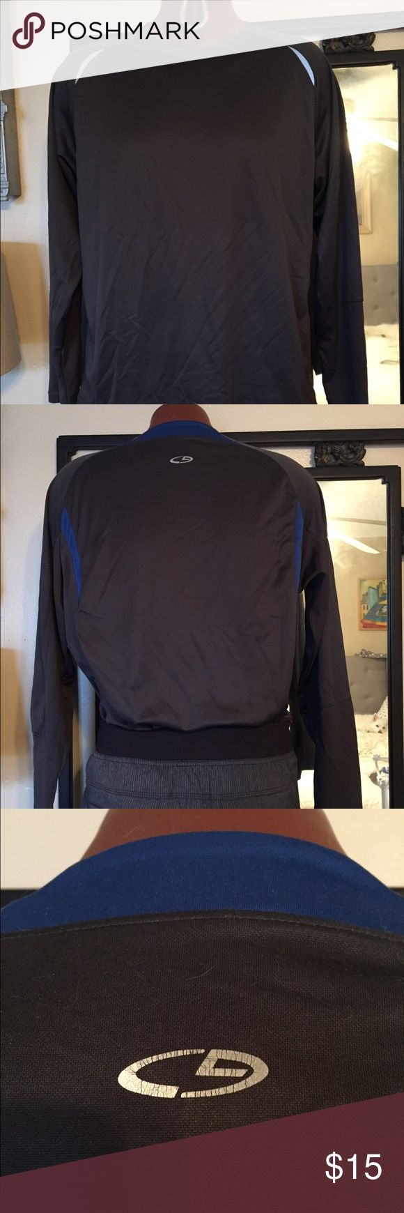 Champion duo dry long sleeve men's athletic shirt Good used condition size large dark gray with marine blue accent. Good quality soft stretch fabric. A bit of wear on duo fit mark at lower corner see pic. Champion Shirts