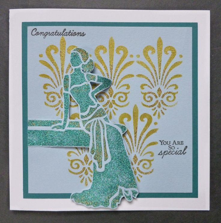 'You Are So Special' card - Imagination Craft's- Art Deco corner stone stencil.  'Sally' Art Deco Lady stencil.  Vineyard & Golden Delicious Sparkle Medium.  Metal spatula.  Chartreuse Starlight paint.  Stencil brush.  May 2017.   Designed by Jennifer Johnston.