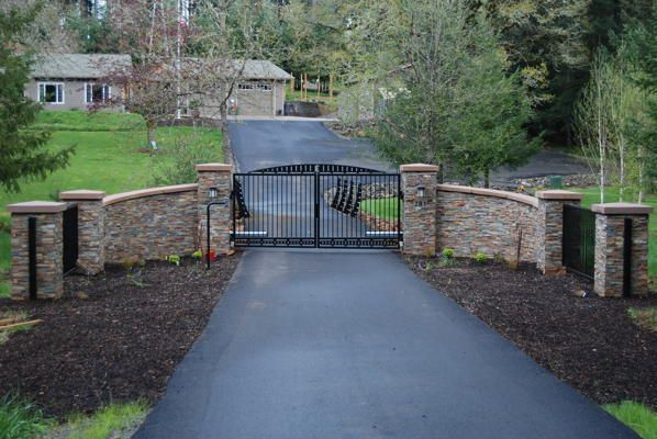 gated driveway entrance ideas   Stone & Iron Gate Driveway Entry