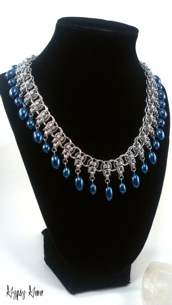 Blue Glass Pearl Byzantine Helm Chainmaille Necklace by GypsyGrove, $30.00