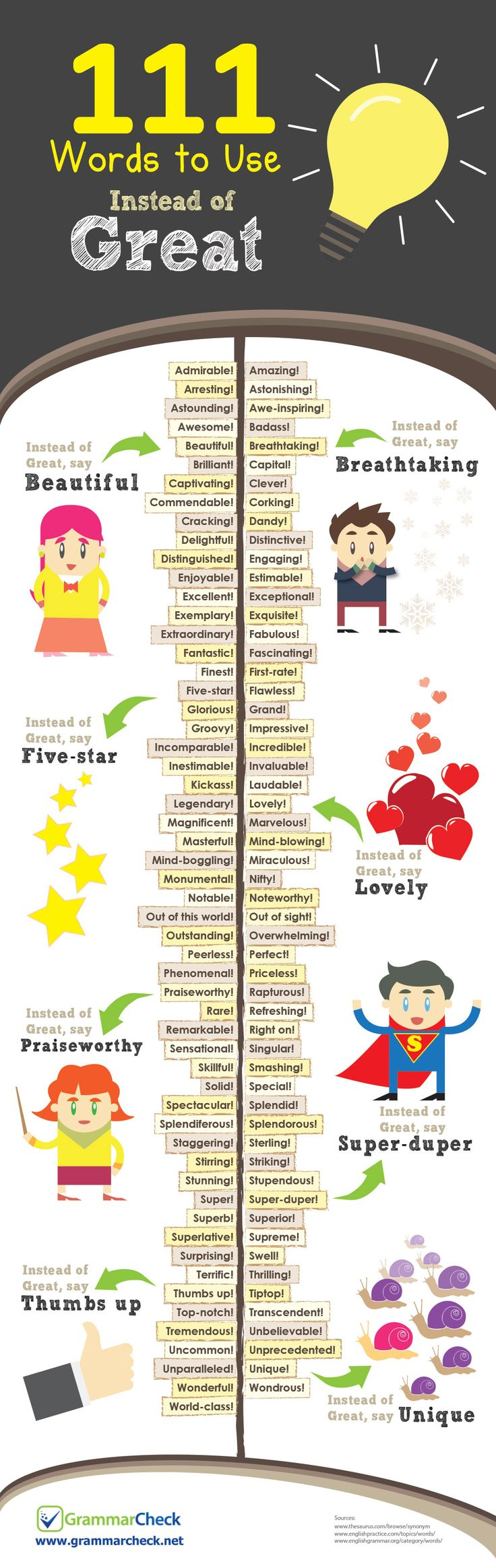 111 Words to Use Instead of Great (Infographic) More