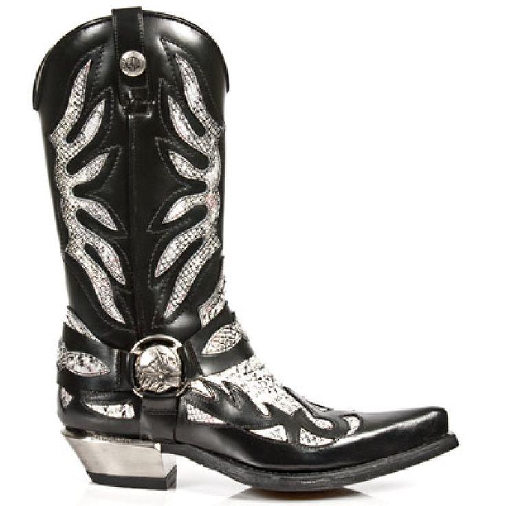 New Rock - M.7991-S1 - Antik Python Faux Snakeskin Cowboy Boots