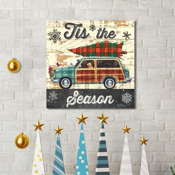 Portfolio Canvas Decor Geoff Allen 'Christmas Plaid Woody' Canvas Print Holiday Wall Art - Green