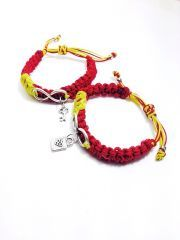 Kırmızı ve Sari Sonsuzluk Üzeri Kilit Anahtar Bay Bayan Örme Ayarlanabilir Sevgili Bileklik Seti