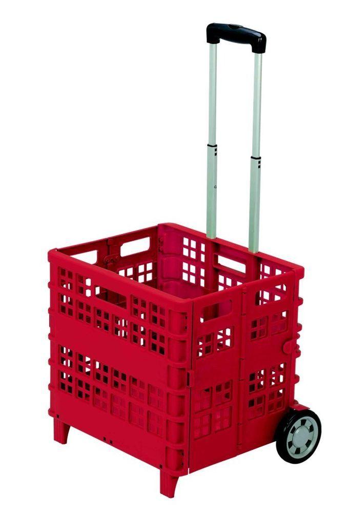 Chariot caisse pliable rouge panier plastique courses voiture camping cars