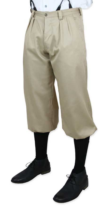 An Emporium Exclusive!Forever linked to late 19th century newspaper peddlers and golfers alike, this pair of Khaki Twill Knickers will have you outfitted to a tee for your next occasion. It doesn't matter if you call them knickers, knickerbockers, knee-breeches, or even plus-fours, these shortened trousers always billowed a bit around the knee. This pleated front pair is kept secure with a 1.5 inch band of elastic at each cuff. Button fly and two pockets at the front sides and 2 more…