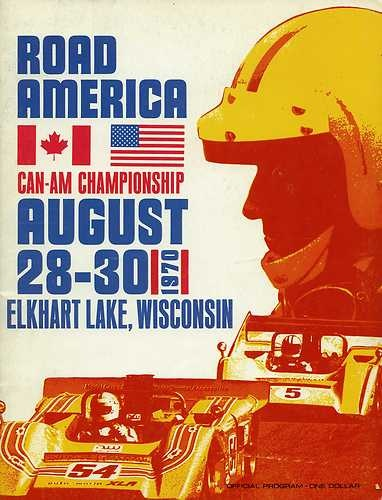 1970 Road America Elkhart Lake Can Am Race Program Peter Gethin McLaren M8DAmerica Elkhart, Autos Graph, 1970 Roads, Roads America, Racing Posters, Automotive Posters, America Canam, Automotive Art, America Posters