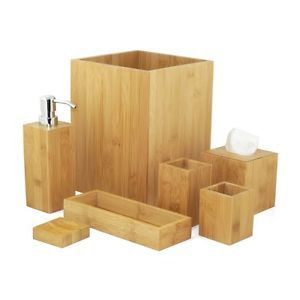 MK Bamboo LONDON - Bambus Bad Accessoire Set (7-teilig)