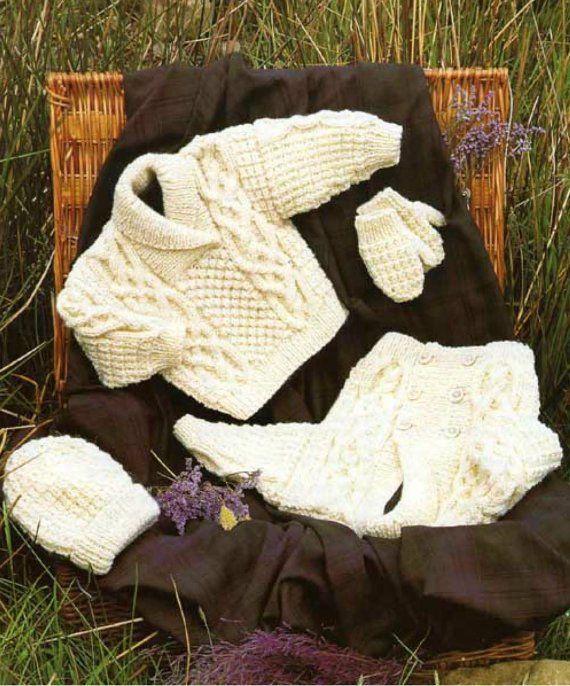13db0ecf0 Knit Baby Jacket Sweater Hat Mittens Vintage Knitting Pattern ...