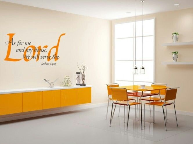 Contemporary Interior Dining Room With Religious Wall Vinyl Decals And Yellow Storage Also Square Table For