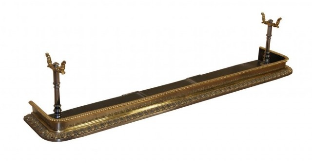 EARLY 19TH CENTURY POLISHED STEEL AND BRASS FIREPLACE FENDER - UK Architectural Heritage