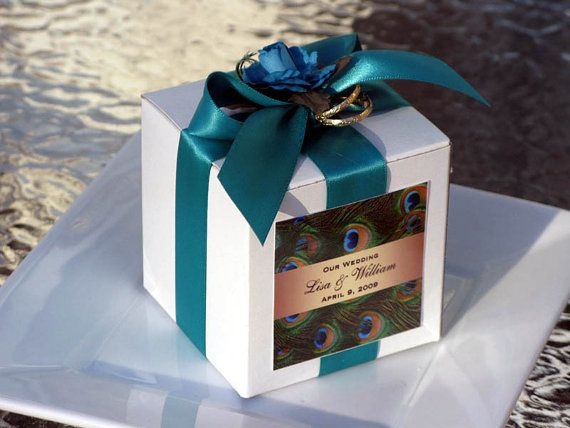 PEACOCK wedding square favor boxes  we can do any by shadow090109, $2.50