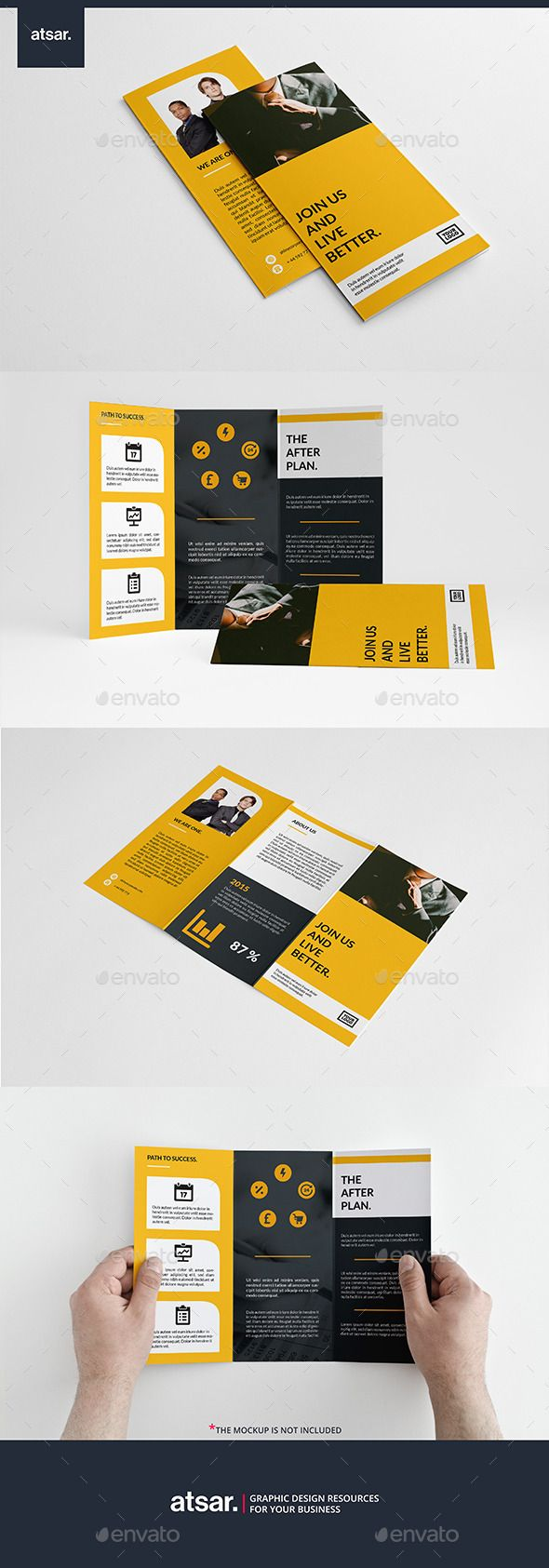 Yellow Corporate Trifold Brochure Template #design Download: http://graphicriver.net/item/yellow-corporate-trifold/12787429?ref=ksioks