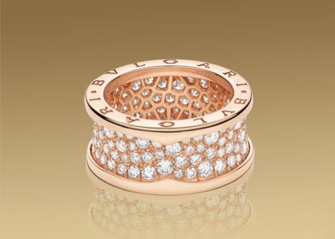anello bzero1 in oro rosa 18 carati con pav di diamanti b goldrings
