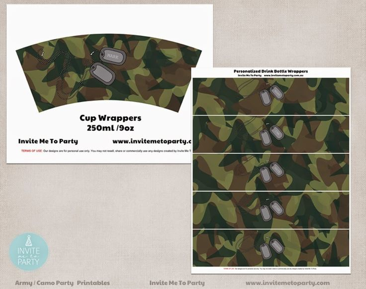Army drink bottle wrappers | camo drink bottle wrappers Invite Me To Party: Army Invitation | Camo Party