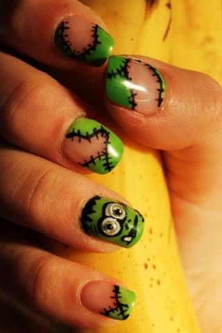 Monster halloween, Frankenstein nails, googly eyes, #nail #nails #nailart