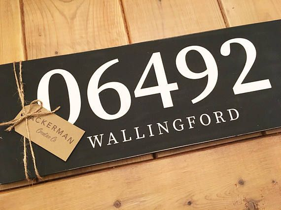 Town Zip Code Distressed Wood Sign Zip Code by AckermanCreativeCo