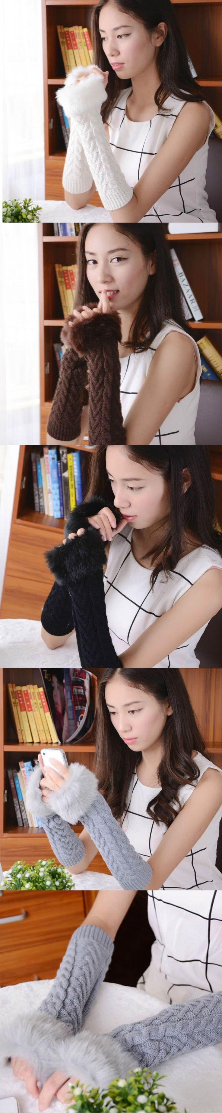 Amaizng Fashion Winter Knitted Arctic cashmere Fur Fingerless Gloves Women Elbow Soft Warm Mitten Genuine Fur Ladies Gloves