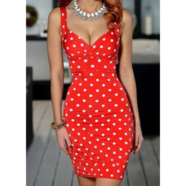 Vintage Plunging Neck Polka Dots Sleeveless Women's Bodycon Dress
