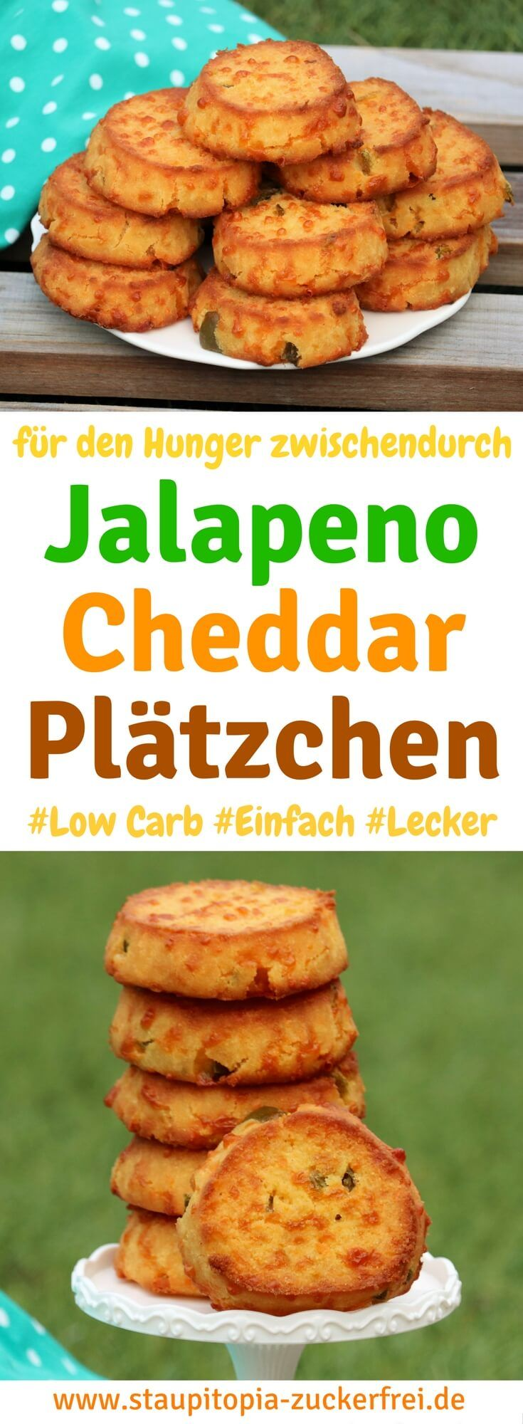 These savory low carb jalapeno cheddar cookies are the perfect snack in between.  You can make the cookies quickly and easily yourself, the sharpness of your metabolism is stimulated and they are wonderfully saturated when the sudden cravings come over you.  A perfect recipe for those who are looking for hearty and healthy snack ideas for work, school or even in the evening.