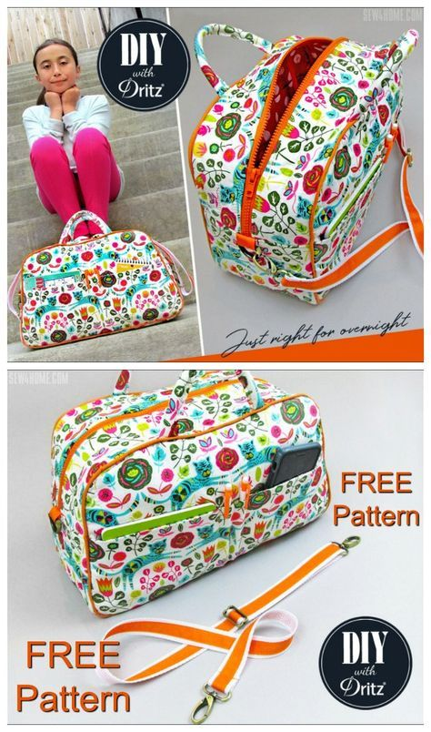 Free duffle bag or bowling style bag sewing pattern. Small purse size or kids si…