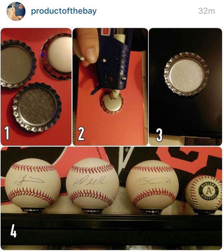 Baseball display; bottle caps