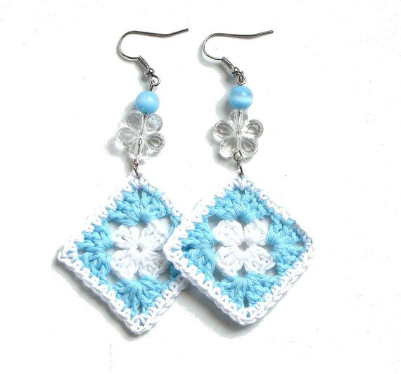 Aqua blue and white crochet square earrings  crochet by zolayka,