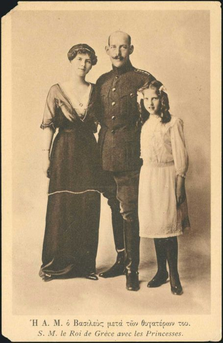 King Constantine I of Greece and his daughters, Helen and Irene.