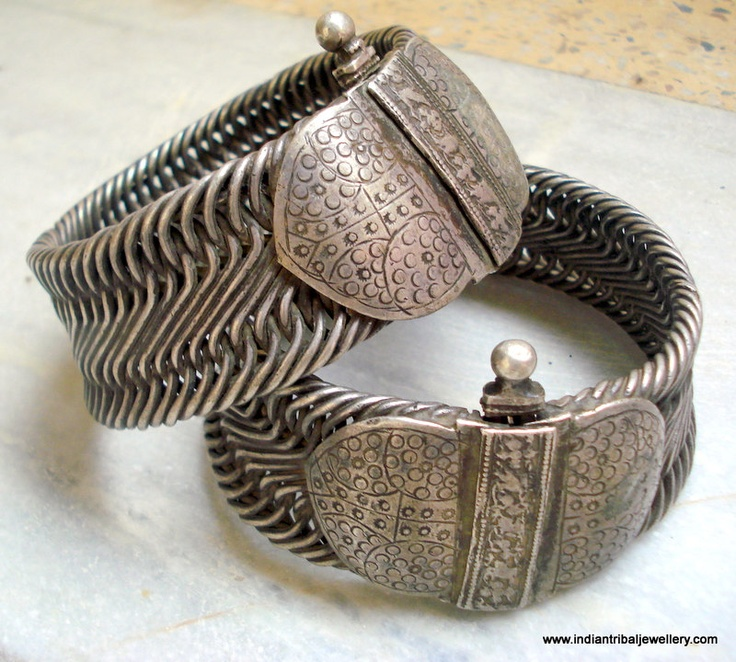 India | Set of old silver vintage anklets from Rajasthan. ...Would be an awesome belt!