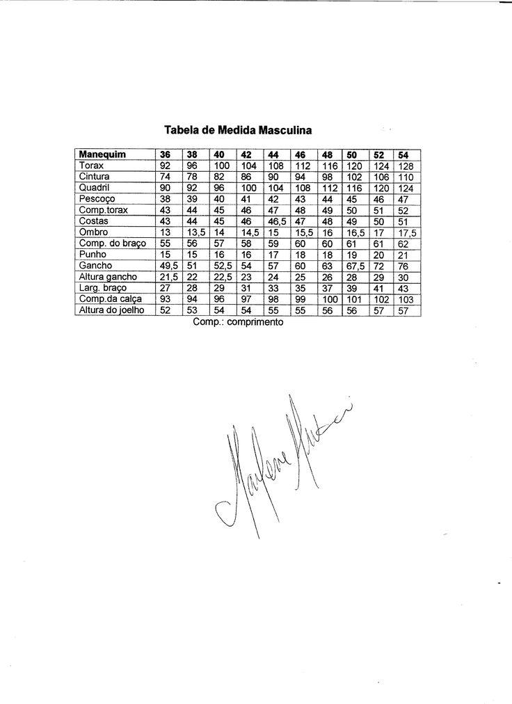 Tabela de medidas masculina adulto.