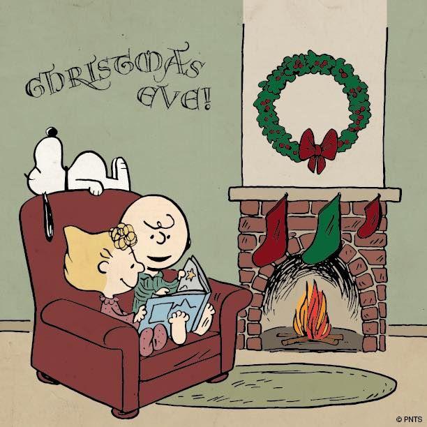 Snoopy, Charlie, and Sally reading by the fire on Merry Christmas Eve.