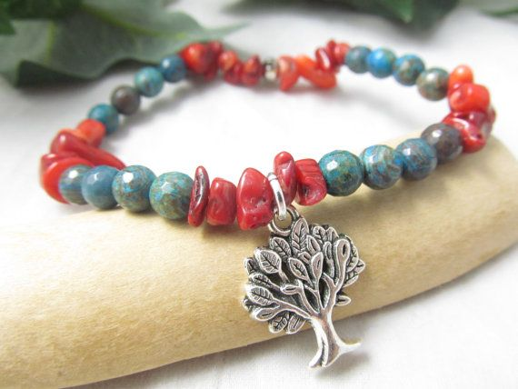 Blue Crazy Lace Agate Faceted Tree Of Life Stretch Bead