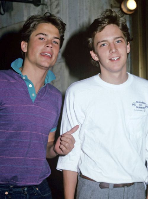 Rob Lowe & Andrew McCarthy. This shot brings back a lot of 80's memories!