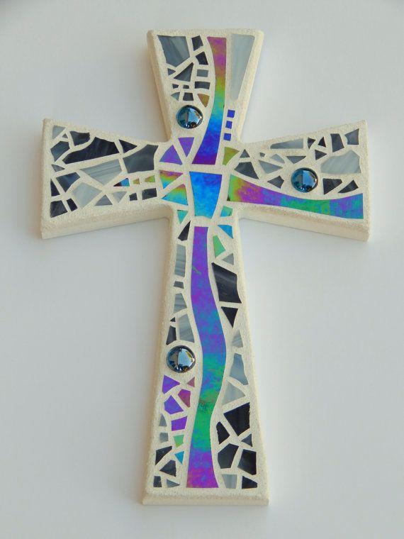 "Mosaic Wall Cross, Abstract Modern Art, White with Iridescent Stained Glass, Handmade Mosaic Design, 12"" x 8"" by GreenBananaMosaicCo"
