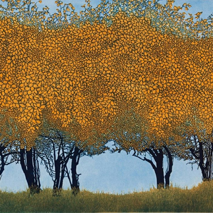 "lilacsinthedooryard: ""Phil Greenwood (UK b 1943) Dancing Trees etching and aquatint """