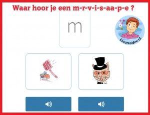 Waar hoor je een m-r-v-i-s-aa-p-e , taal voor kleuters op digibord of computer  op kleuteridee.nl