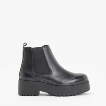 Jeffrey Campbell UNIVERSAL Black Leather Platform Chelsea Boot
