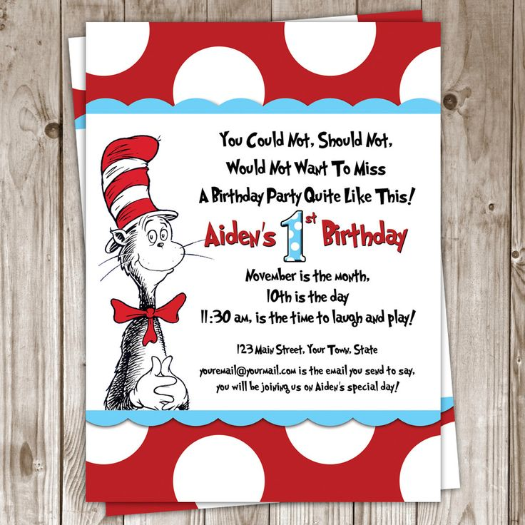 40 best daniels 1st bday images on pinterest | dr suess, birthday, Birthday invitations