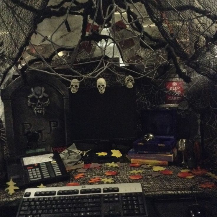 This year's work pod...giant tent and this is the inside. My Halloween Cubicle