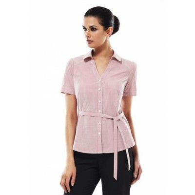 """Berlin Y-Line Short Sleeve 61% Cotton, 35% Polyester, 4% Elastane Stretch Fabric Yarn dyed stripe Easy iron wrinkle free liquid ammonia treated fabric Shoulder pleats, bust and waist darts for comfort """"Y"""" Front placket with peter pan collar Removable waist tie - wear with or without (S261LS_BIZ)"""