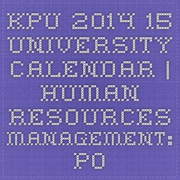KPU 2014-15 University Calendar | Human Resources Management: Post Baccalaureate Diploma