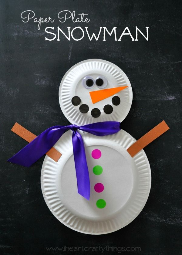 Paper Plate Snowman Craft | Bring the fun inside with this easy Winter Craft for Kids. | From http://iheartcraftythings.com