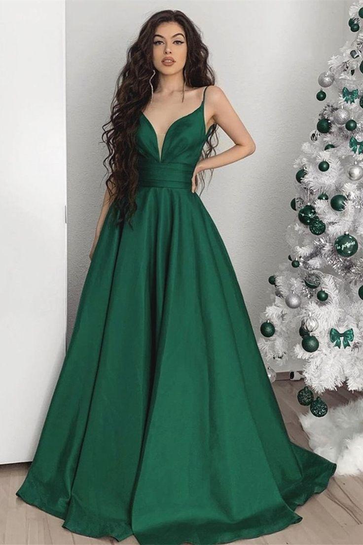 Elegant v neck emerald green satin long prom dress v neck