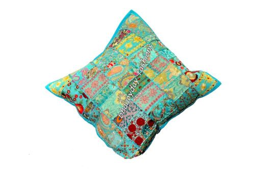 """Indian Handmade Ethnic Cushion Case Vintage Embroidery Patchwork Sofa Throw 24"""""""