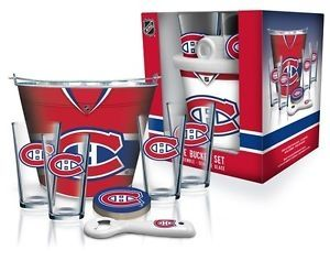 Montreal Canadian ice bucket and glasses kit #mancave #bar #glassware #habs