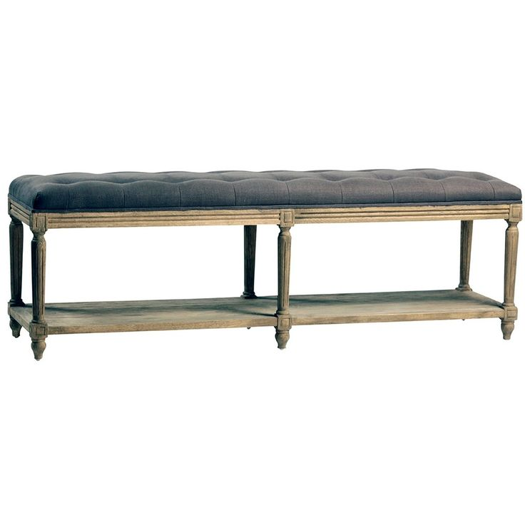 The antique-gray finish over the solid-oak base of the Alma Bench gives this long seat vintage authenticity, especially complemented by the luxuriously button-tufted gray cotton-linen blend upholstery. A lower tier provides a spot for handy storage or even adventurously subtle display. Solid oak bench Antique grey finish Tufted seat cushion Grey toned cotton linen blend