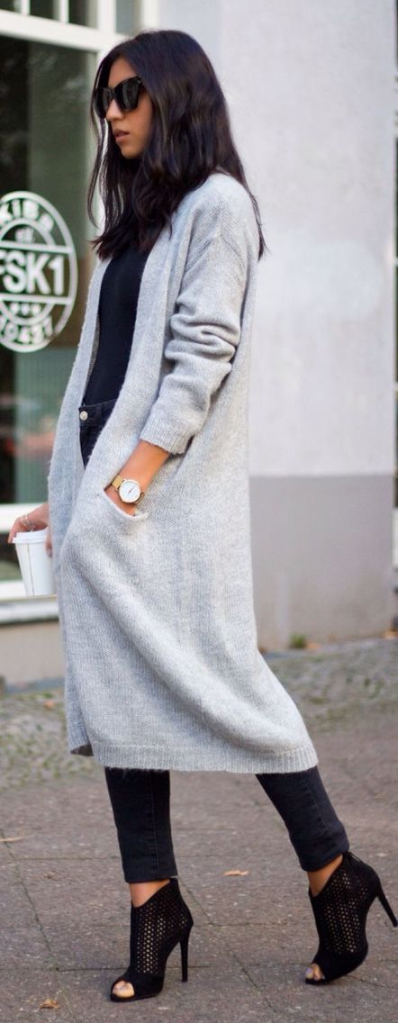 Grey cardigan + all black.