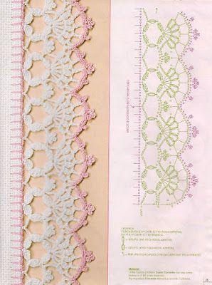 Eliana Pintura e Crochê: bicos de crochê com gráficos: