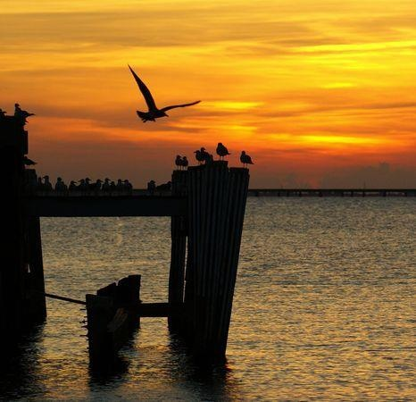 Lake Pontchartrain sunset in New Orleans, Louisiana