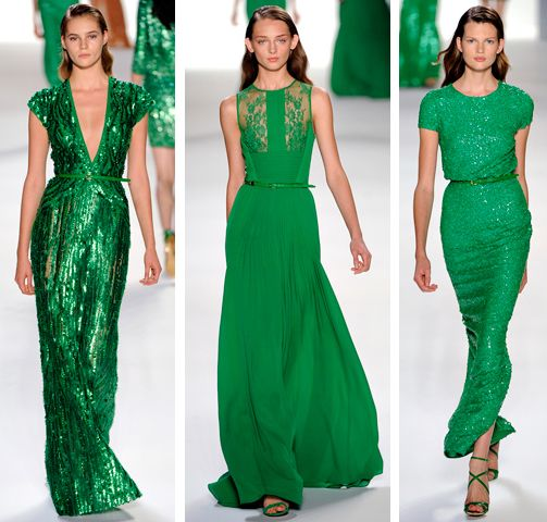 emerald green gowns.  Elie Saab...I love Elie Saab using different textures for bridesmaid dresses